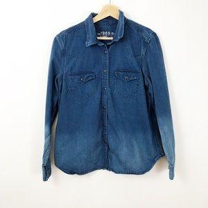 GAP 1969 Denim Button Front Shirt Large